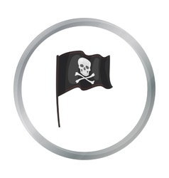 Pirate flag icon in cartoon style isolated on vector image