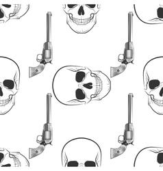 skull and Revolver pattern vector image