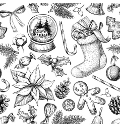 Christmas object seamless pattern Hand drawn vector image vector image