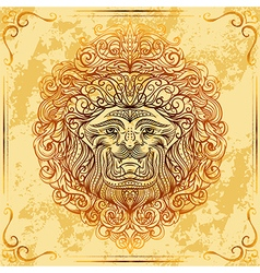 lion head with baroque ornament vector image vector image