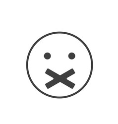 silence icon face with crossed mouth silence vector image vector image