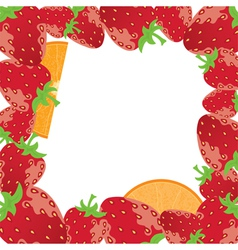 strawberry frame with oranges vector image vector image