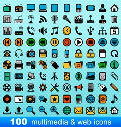 100 multimedia and web icons vector image