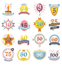 anniversary badges set birthday numbers vector image