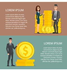 Businessman and woman proudly standing on the huge vector image vector image