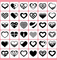 heart icons set vector image vector image