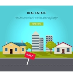 Real Estate Web Banner in Flat Design vector image