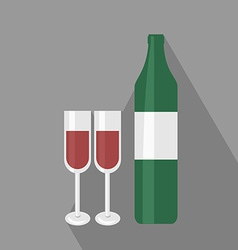 Wine Bottle ant Two Glasses Flat Icon vector image