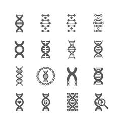 DNA spiral black icons set for chemistry or vector image vector image