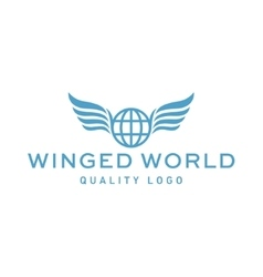Winged logo planet earth abstract high vector image