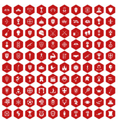 100 trophy and awards icons hexagon red vector image