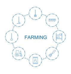 8 farming icons vector