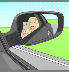 a young girl a blonde is making a selfie photo in vector image