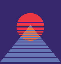 Abstract background with sun and pyramid in retro vector