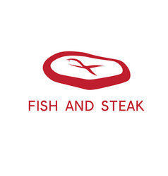 Abstract fish and steak restaurant design template vector