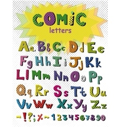 Alphabet in comic style colorful letters vector