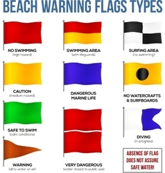 Beach warning flags types vector
