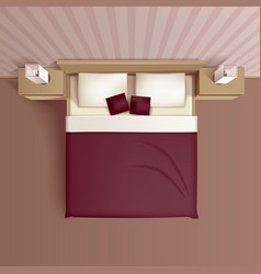 Bedroom Interior Top View Realistic Image vector