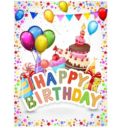 Birthday background with colorful balloon and birt vector image