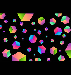 black dark background with colorful square cube vector image