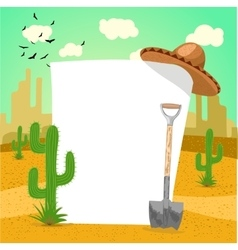 Blank board in mexican desert with cactus vector