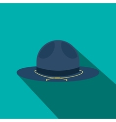 Blue cowboy hat icon flat style vector