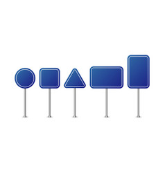 blue road signs realistic road sign set road sign vector image