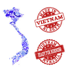 business contacts collage of mosaic map of vietnam vector image