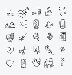 business doodle icons set drawing sketch hand vector image