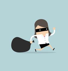 businesswoman in burglar mask flees stolen bag vector image
