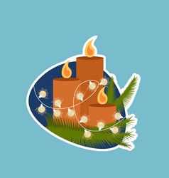 candle decoration christmas and new year holidays vector image