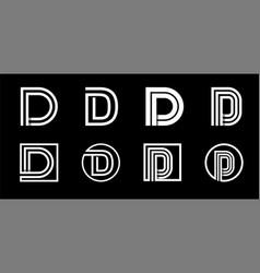 Capital letter d modern set for monograms logos vector