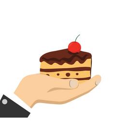 Cartoon hands holding cake vector