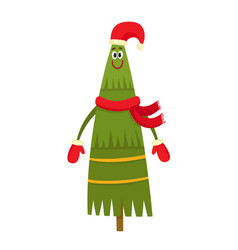 Christmas tree character with red hat and red vector