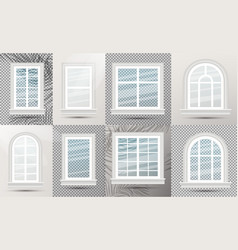 closed realistic glass windows set with shadows vector image