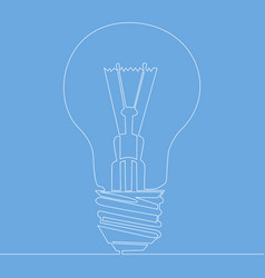 continuous one line light bulb symbol idea vector image