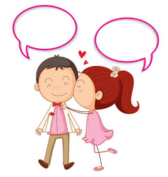Couple with speech bubbles vector