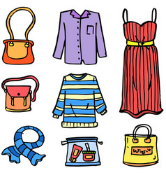 doodle of clothes set style women vector image