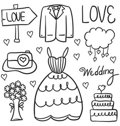doodle of wedding hand draw style vector image