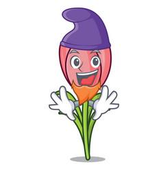 Elf crocus flower character cartoon vector