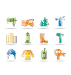 emergency fire icons vector image