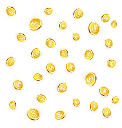 falling golden coins isolated on white background vector image