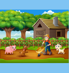 Farming activities on farms with animals vector