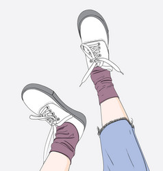 fashion of girlwhite sneakers vector image