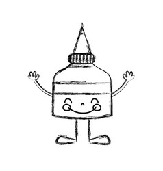 figure kawaii happy glue bottle with arms and legs vector image