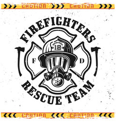 Firefighter head in gas mask emblem vector