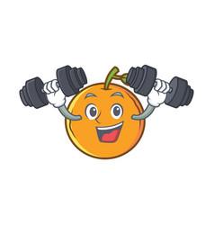 fitness orange fruit cartoon character vector image