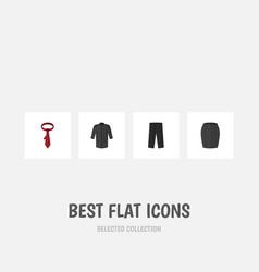 Flat icon garment set of uniform pants cravat vector