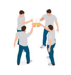 four identical men clink glasses with beer vector image