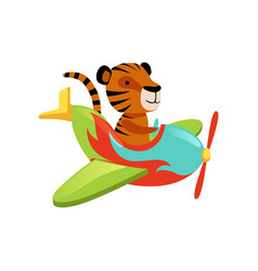 Funny tiger flying on multi-colored airplane vector
